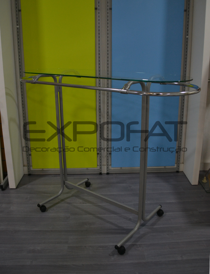 Expositor com tampo de vidro